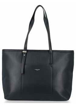 Shopper bag David Jones na ramię bez dodatków w stylu glamour