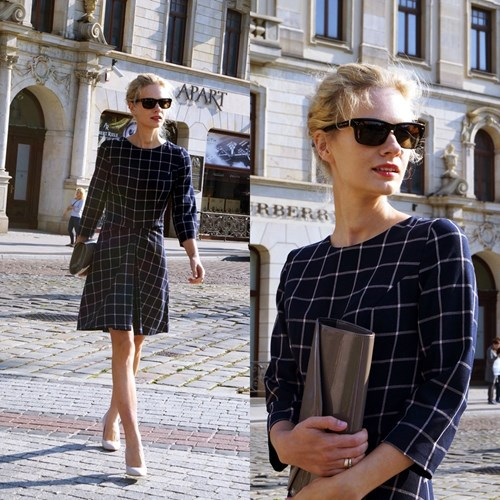 Autumn Elegance in Checked Dress