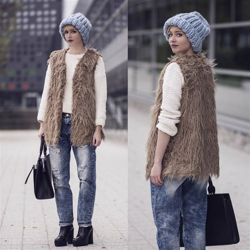 758b90f395784 Futerkowa kamizelka - jak nosić  - Trendy w modzie w Domodi