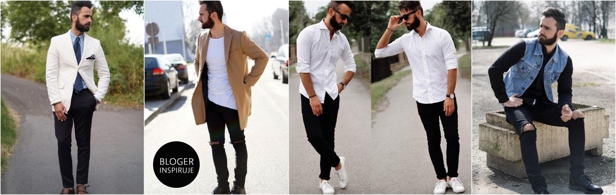 Modny facet: biel i czerń
