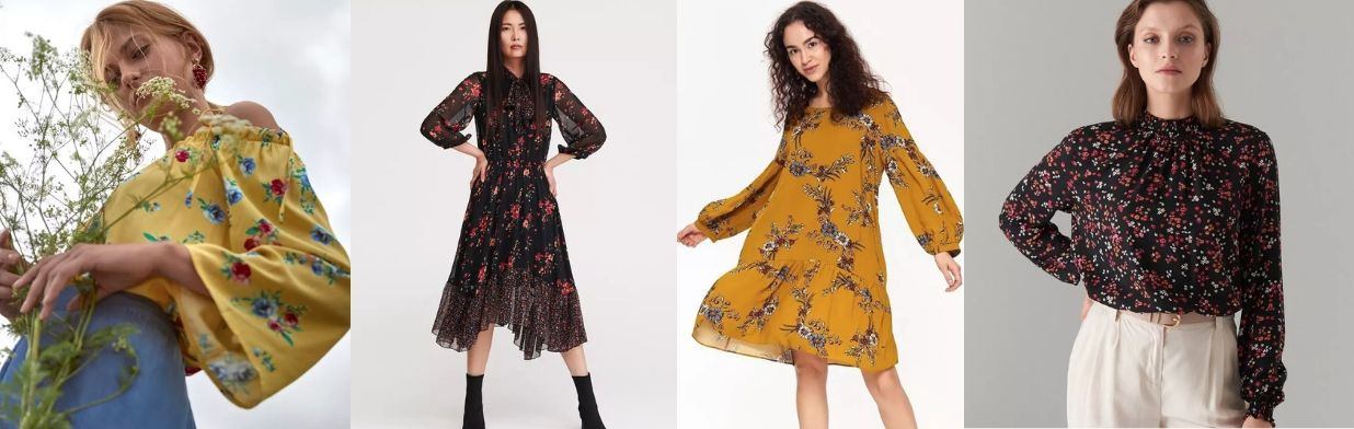 Trendy jesień-zima 2019: kwiaty na ubraniach