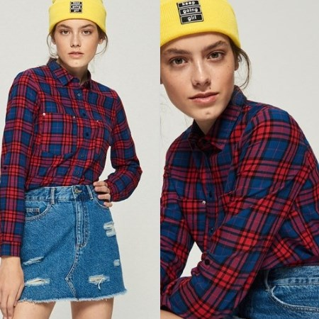 Stylizacja z koszulą w kratę i jeansową spódniczką
