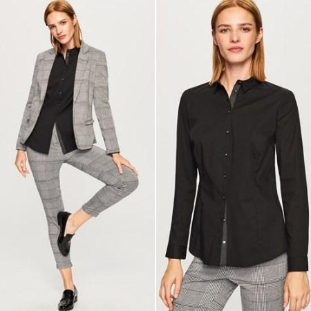 czarna koszula stylizacja do pracy