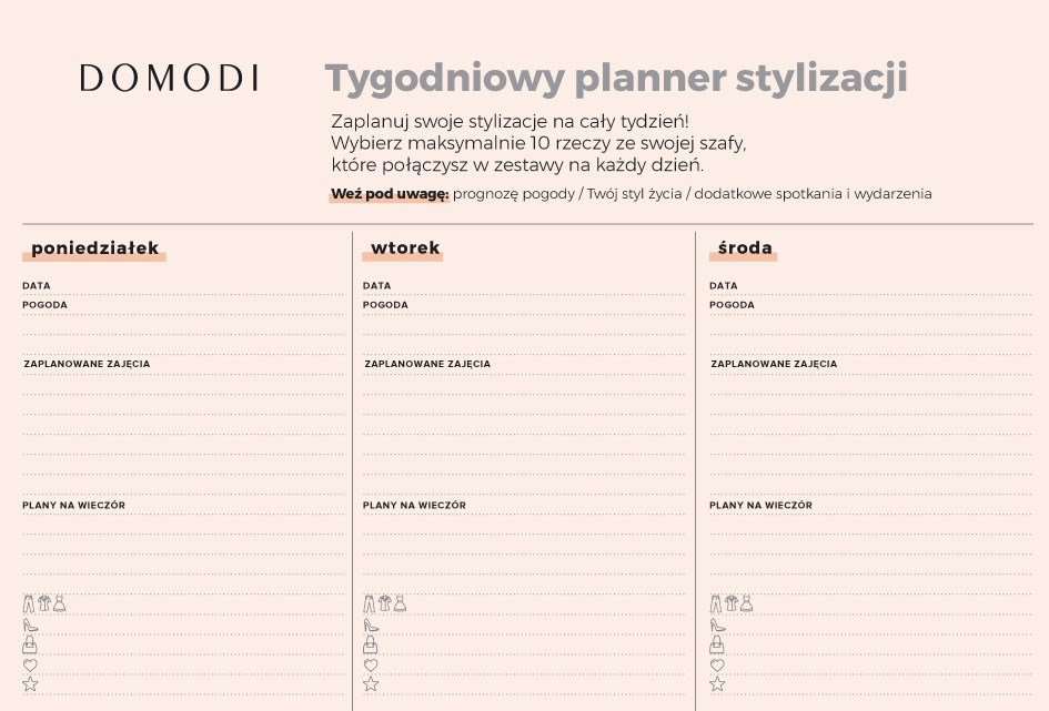 garderoba kapsułowa planner stylizacji domodi